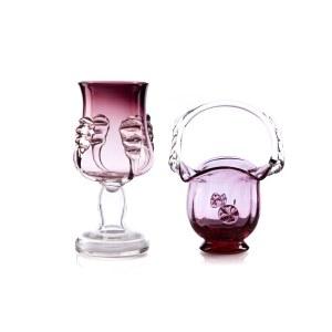 Para szkieł: wazon i koszyk