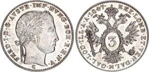 Austria 3 Kreuzer 1847 C