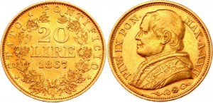 Italian States Papal States 20 Lire 1867 R