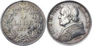Italian States Papal States 5 Lire 1870 XXV R