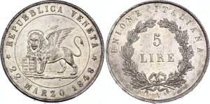 Italian States Venice 5 Lire 1848 V