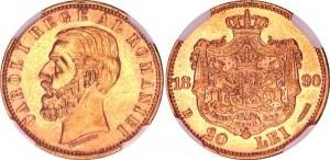 Romania 20 Lei 1890 B NGC AU 58