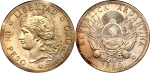 Argentina 1 Peso 1880 Pattern NGC MS62