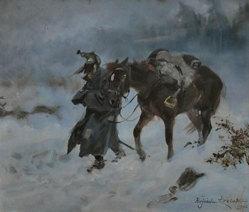 Wojciech KOSSAK (1856-1942), Kirasjer w zadymce, 1926