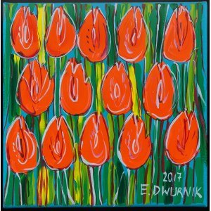 Edward Dwurnik (1943 Radzymin - 2018 Warszawa), Pomarańczowe tulipany, 2017