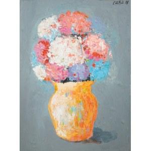 CABAN Jolanta, kolorowe hortensje w dzbanuszku, 2021