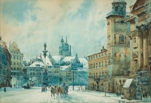 Chmieliński (Stachowicz) Władysław, WARSZAWA. PLAC ZAMKOWY W ZIMIE, PRZED 1939
