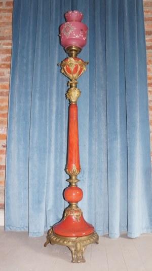 podłogowa lampa naftowa eklektyk koniec XIX w.
