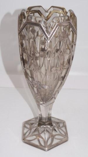 kielich szklany okuwany srebrem secesja