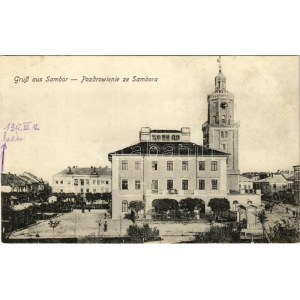 Sambir, Szambir, Sambor; main square, church (fl)