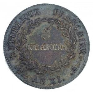 Franciaország 1802A (AN XI) 5Fr Ag