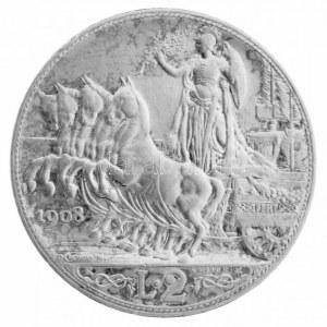 Olaszország 1908R 2L Ag