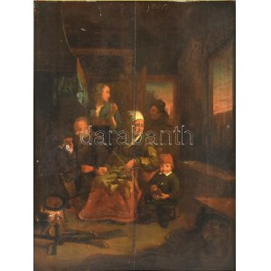 XVII. vagy XVIII. sz. holland festő alkotása, jelzés nélkül (Adrian van Ostade köre?): Család. Olaj, fatábla. Sérült...