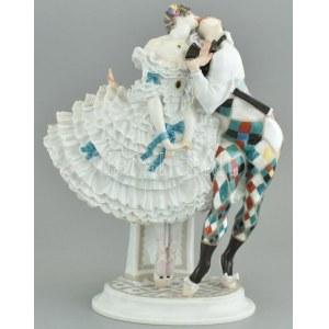 Harlequin és Kolumbina (az orosz balett karnevál figuracsoportból) Meissen, 1914 körül (Paul Scheurich modellje)...
