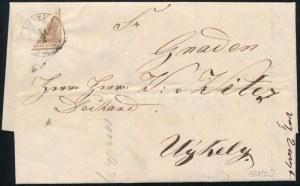 1858 február 11-én Liszkán feladott távolsági levél (Sátoralja) Újhelyre címezve. A levél díja az I. távolsági zónában ...
