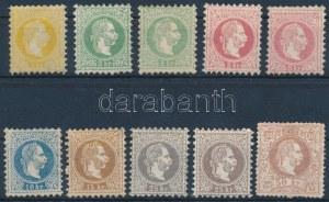 1867 10 db bélyeg, a 25 krajcárosok vízjelesek (apró hibák, javítások, papírelvékonyodás) (**451.000) / 10 stamps ...