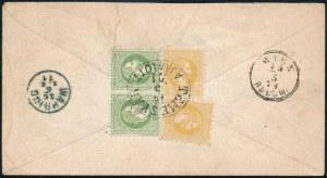 1871 Ajánlott 5kr díjjegyes boríték, a hátoldalán 2 x 2kr és 2 x 3kr díjkiegészítéssel (az egyik 3kr sérült...