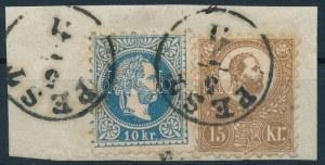 1871 1867-es 10kr és Kőnyomat 15kr vegyes bérmentesítés kivágáson. Ryan könyv 116...