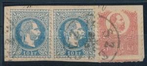 1871 2 x 1867 10kr + Kőnyomat 5kr vegyes bérmentesítés kivágáson / 2 x 1867 10kr + Mi 3 mixed franking on cutting ...