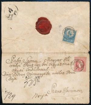 1871 1867-es 5kr díjjegyes boríték Kőnyomat 10kr díjkiegészítéssel, ajánlott levélként...