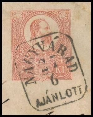1871 Kőnyomat 5kr díjjegyes boríték 1867-es 10kr kiegészítéssel ajánlott levélként (kiállítási lapon...