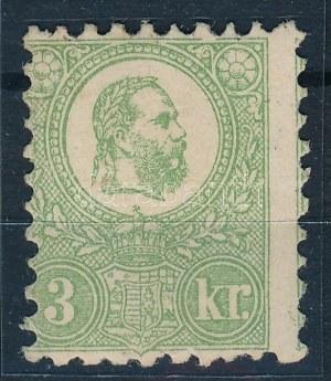 1871 Kőnyomat 3kr csaknem postatiszta bélyeg eredeti gumival, enyhén képbe fogazott, friss színű darab...