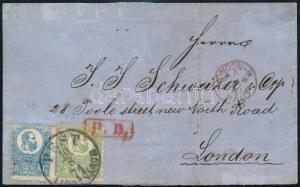 1871 Kőnyomat 3kr (IV. típus) és 10kr (II. típus) levélen Angliába (összesen 3 db Kőnyomat 13kr levél ismert) / Mi 2 ...