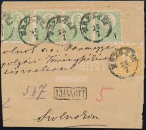 1871 Ajánlott levél előoldalán 2kr + 4 x 3kr, a hátoldalon egy sérült 2kr / Registered cover with 2kr + 4 x 3kr (...