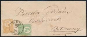 1871 Kőnyomat 2kr + 3kr távolsági levélen / on domestic cover