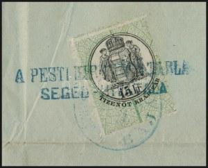 1871 Kőnyomat 3kr helyi levélen, a levél belsejében 15kr illetékbélyeg / Mi 2 on local cover (15kr fiscal stamp inside...