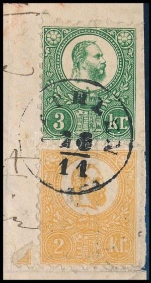 1871 Kőnyomat 2kr és Réznyomat 3kr illetve 10kr vegyes bérmentesítés ajánlott levélen (kiállítás lapon) / Mi 1 + 9 ...