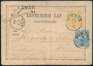 1871 2kr díjjegyes levelezőlap Kőnyomat 10kr kiegészítéssel ajánlott küldeményként feladva (restaurált) ...