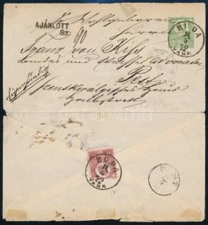 1872 3kr díjjegyes boríték Réznyomat 5kr díjkiegészítéssel helyi ajánlott levélként / 3kr PS...