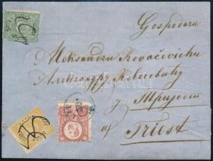1873 Levél Boszniából török 20para és 1piaster majd Magyarországon Réznyomat 5kr bérmentesítéssel