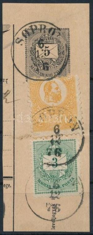 1871 Kőnyomat 2kr és 1874 Színesszámú 3kr vegyes bérmentesítés 5kr díjjegyes postautalvány darabon 1876-ból...