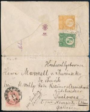 1874.dec.3. Vegyes bérmentesítésű levél Réznyomat 2kr, 3kr + Színesszámú 5kr bélyegekkel. Rendkívül ritka kombináció! ...
