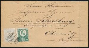 1874 Réznyomat 3kr és Színesszámú 2kr vegyes bérmentesítés levélen