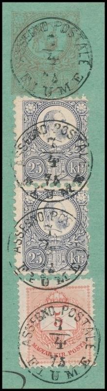 1975 Magyar-olasz nyelvű postautalvány 2 db Réznyomat 25kr és 1874-es 5kr vegyes kiegészítéssel / Hungarian...