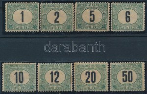 1903 Zöldportó I. sor 11 1/2 fogazással (567.000) (10f, 12f, 20f foltos) / Mi P 1-8 11 1/2 perforation (10f, 12f...