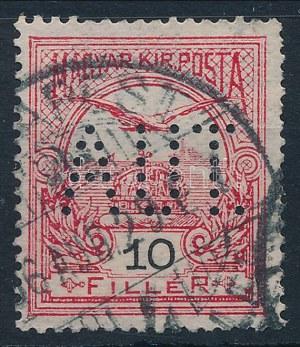 1906 Turul 10f bélyeg AUT lyukasztással, 1906. aug. 29-i