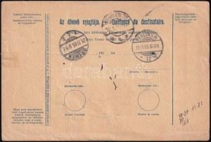 1905.nov.6. Szállító levél Turul 2K hármascsík (1904) + 60f bérmentesítéssel (6,60K tarifa) az Egyesült Államokba...
