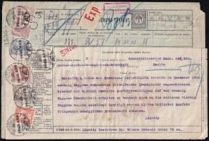 1916 2f Siemens S3 expressz távirat 12,39K kiegészítéssel, cenzúrázva Berlinbe...