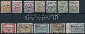 Nyugat-Magyarország V. 1921 12 klf bélyeg. Signed: Bodor (ex Király) (5f, 2K javított sarok / repaired corner, 2...