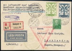 1933 Ajánlott légi Zeppelin levelezőlap 6,6P bérmentesítéssel / Registered Zeppelin postcard with 6...