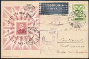 1934 LEHE blokk és Repülő 1P légi levelezőlapon