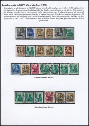 Abony 1945 25 db bélyeg kiállítás lapon (76.000) / 25 stamps. Signed: Bodor (6 bélyeghez ...