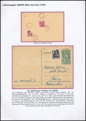 Abony 1945 18f Díjjegyes levelezőlap 3 bélyeges díjkiegészítéssel Abonyba. / PS-card with additional franking to Abony...