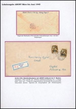 Abony 1945 Ajánlott levél 2 db 1P/80f bérmentesítéssel Abonyból Ceglédre, provizórikus ragjeggyel ...