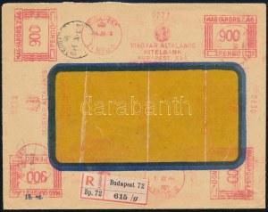 1946 (18. díjszabás) Budapest helyi ajánlott levél 12 db gépi bérmentesítésű lenyomattal ...
