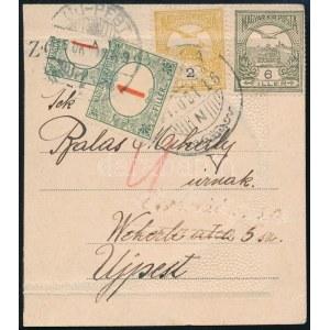 1916 Turul 2f és 6f képeslap darabon, megportózva 1f és felezett, talán 6f bélyeggel / 2f ...
